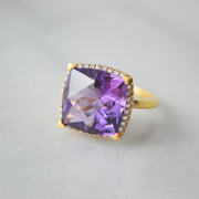 Lisa Nik 13mm Cushion Shaped Amethyst & Diamond Ring