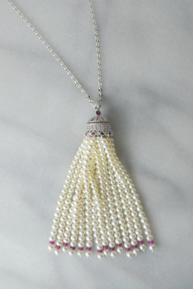 DSL Freshwater Pearl & Ruby Tassel Necklace