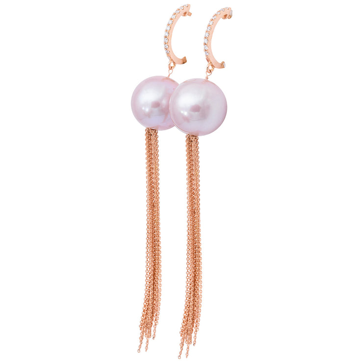 DSL Rose Gold Freshwater Pearl Tassel Earrings