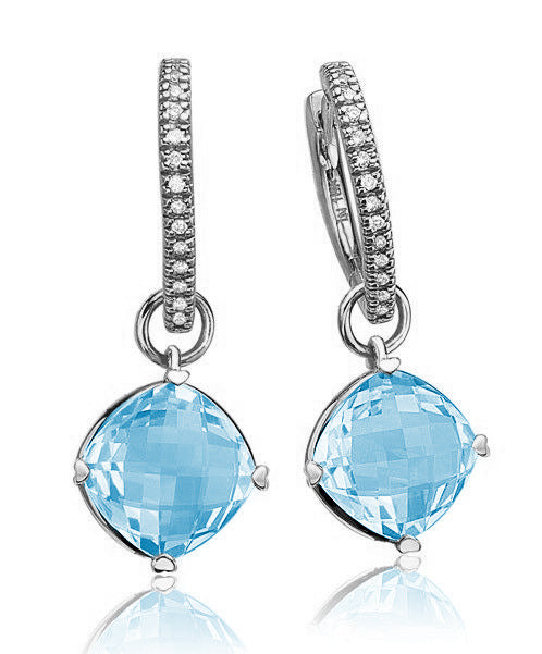 Lisa Nik Cushion Blue Topaz Detachable Drops