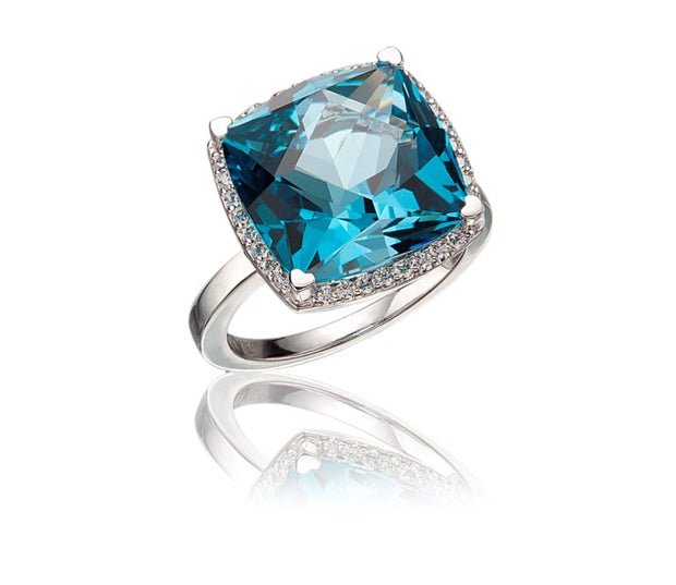 Lisa Nik 17mm London Blue Topaz Ring