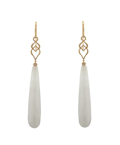 Lisa Nik White Agate Briolette Drop Earrings