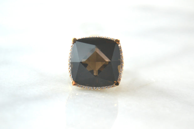 Lisa Nik 17mm Smokey Quartz Cushion Shaped Ring