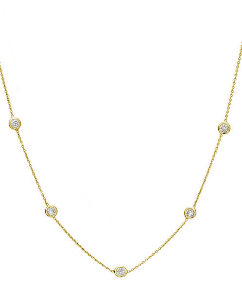 Lisa Nik Five Diamond Bezel Necklace