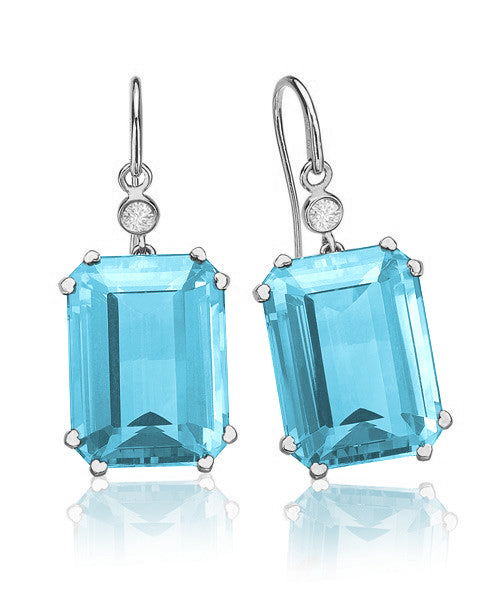 Lisa Nik Octagon Earrings with Diamonds (Multiple Colors!)