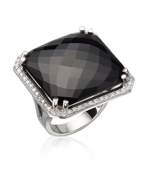Lisa Nik Black Onyx Checkerboard Ring with Diamonds