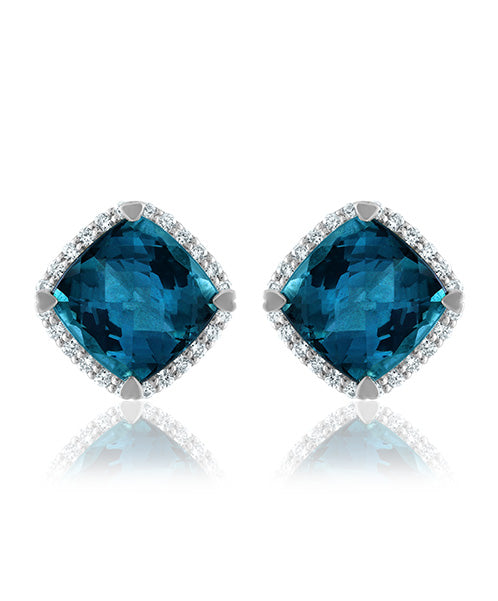 Lisa Nik London Blue Topaz Stud Earrings