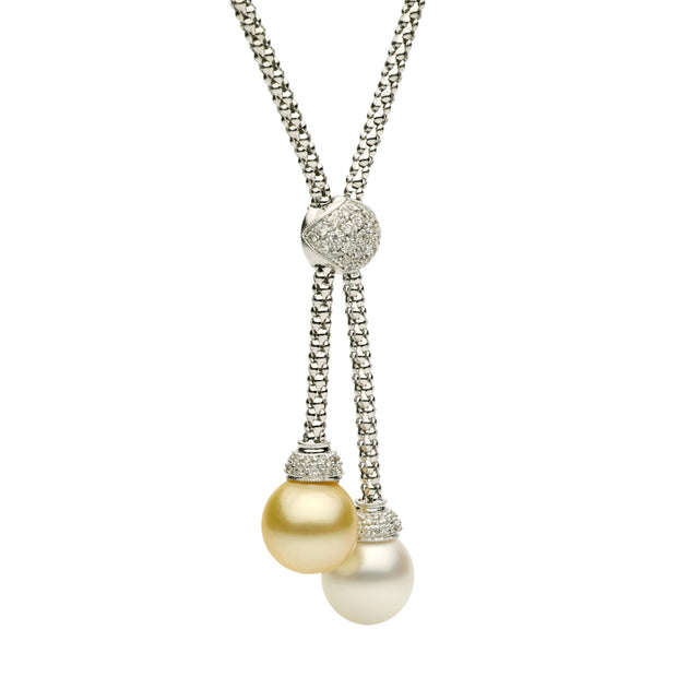 DSL White & Golden South Sea Pearl Lariat Necklace