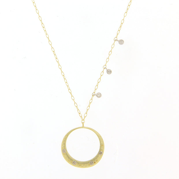 Meira T Dainty Diamond and Yellow Gold Circle Necklace