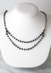 Black Diamond & Pearl Necklace