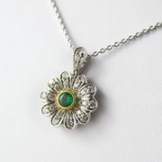 Emerald & Diamond Floral Pendant