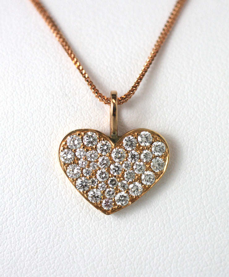Pave & Rose Gold Heart Pendant