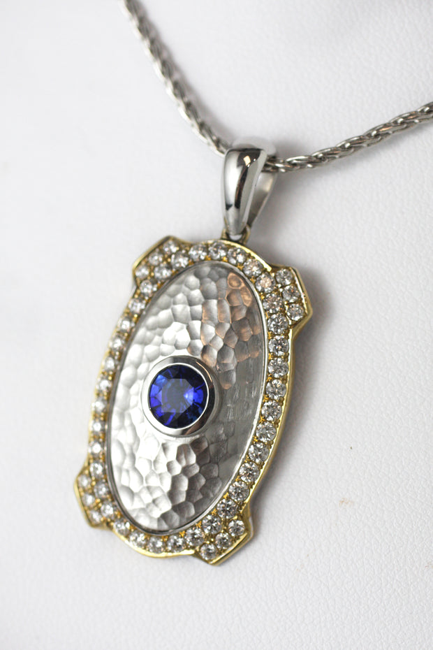 Two Tone Hammered Sapphire Pendant