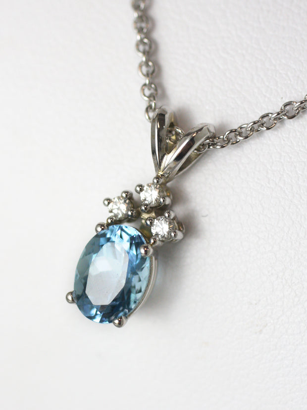 Oval Aquamarine & Diamond Pendant