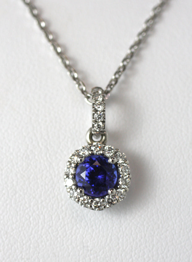 Tanzanite & Round Diamond Pendant