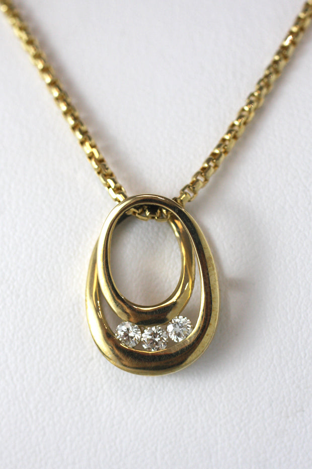 Three Diamond Teardrop Necklace