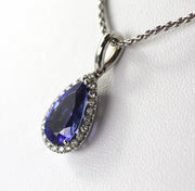 3.09 Carat Tanzanite & Diamond Teardrop Pendant