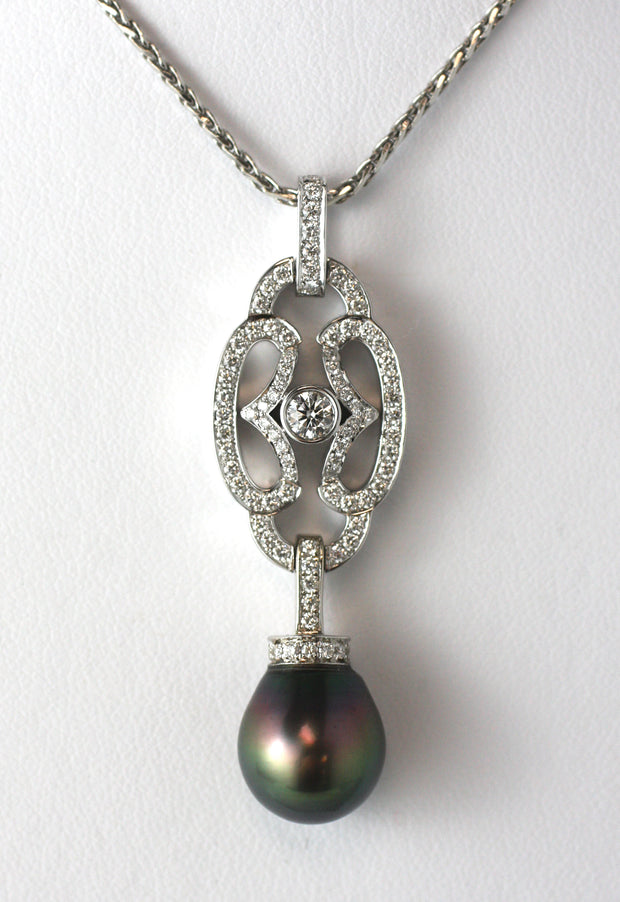 Diamond & Tahitian Pearl Necklace