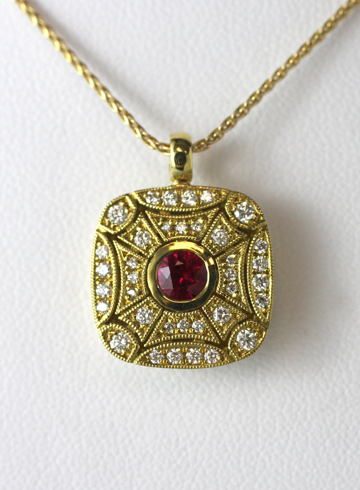 Ruby & Pave Yellow Gold Pendant