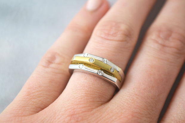 Two-Tone Gold Ring with Diamonds