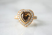 Rose Gold Fancy Colored Diamond Heart Ring