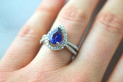 Pear-Shaped Sapphire and Pave Ring