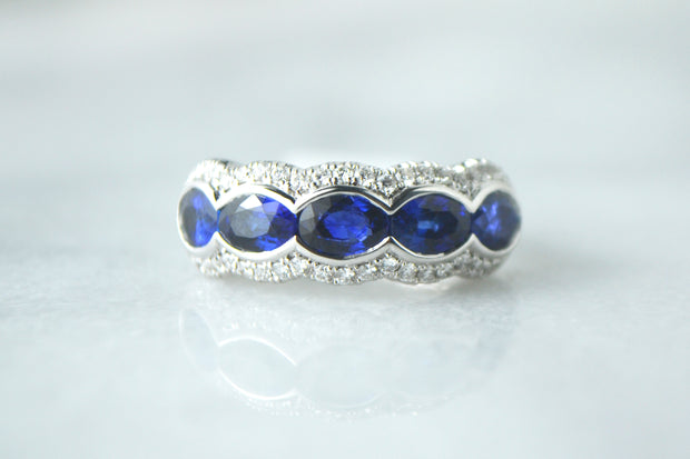 Sapphire and Pave Band