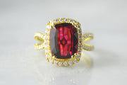 Fine Rubellite Ring with Diamonds