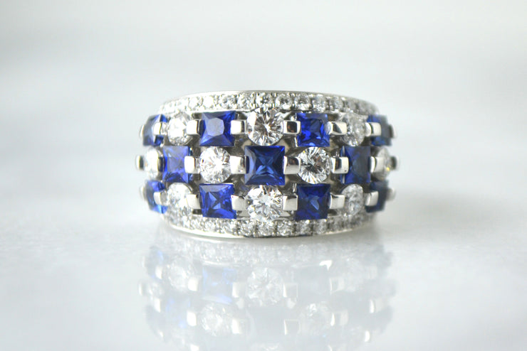 Alternating Diamond and Sapphire Band