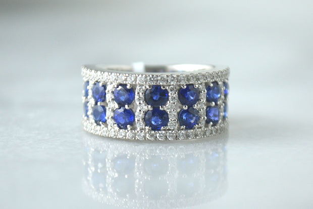 Round Sapphire and Pave Band