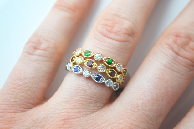 Sapphire, Ruby, and Tsavorite Stackables with Diamonds