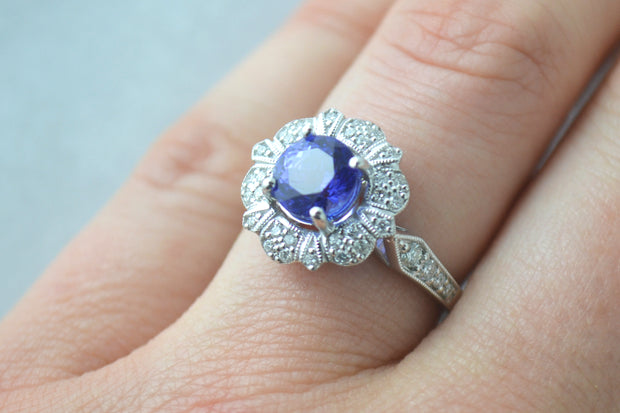 Tanzanite & Pave Filigree Ring