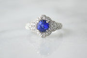 Sapphire & Pave Filigree Ring