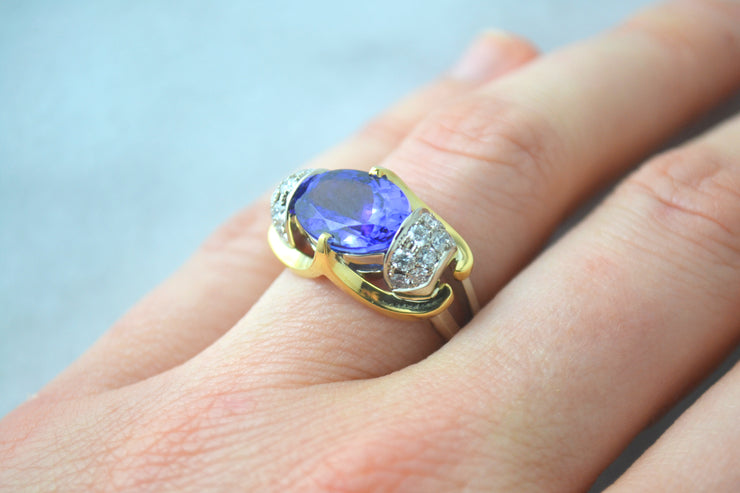 Two-Tone Tanzanite and Diamond Ring