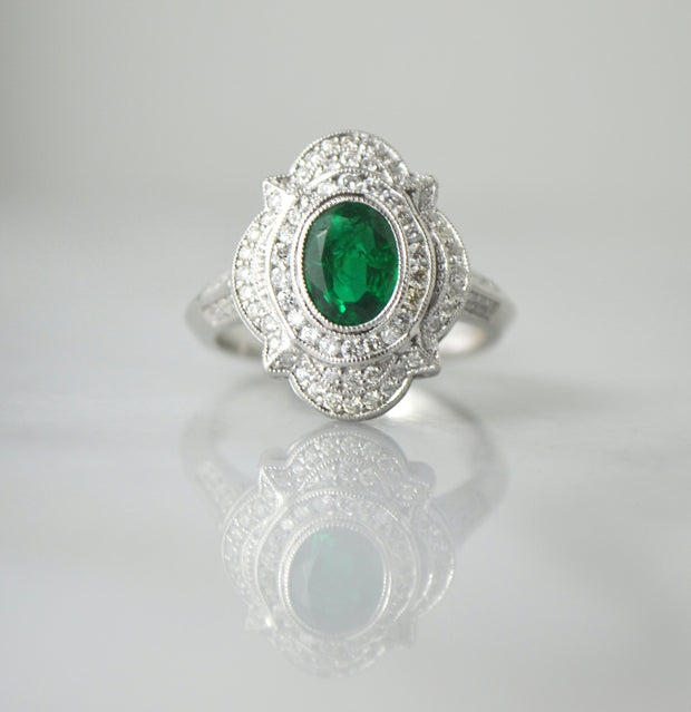 Emerald and Diamond Filigree Ring