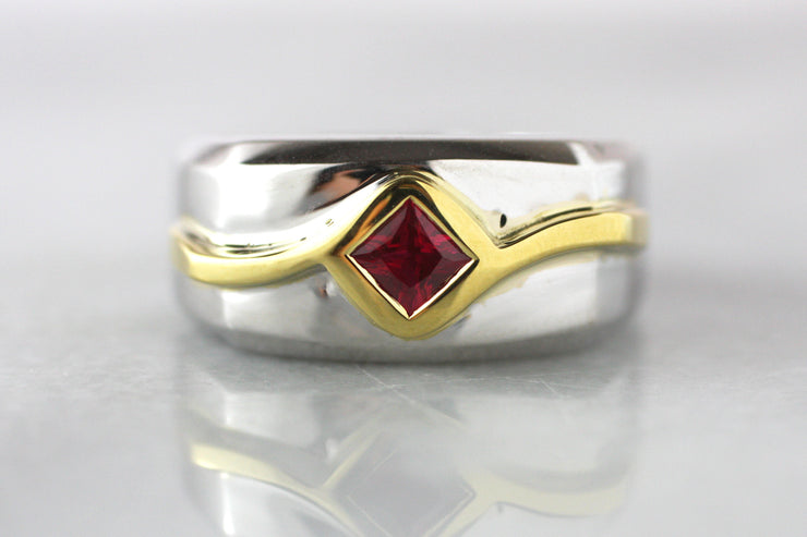 Men's Two Tone Ruby Ring