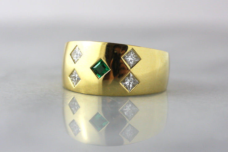 Men's Emerald and Diamond Ring