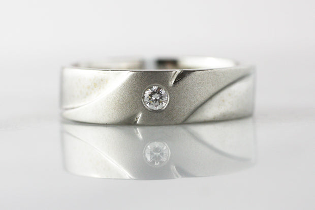 Men's White Gold and Diamond Band