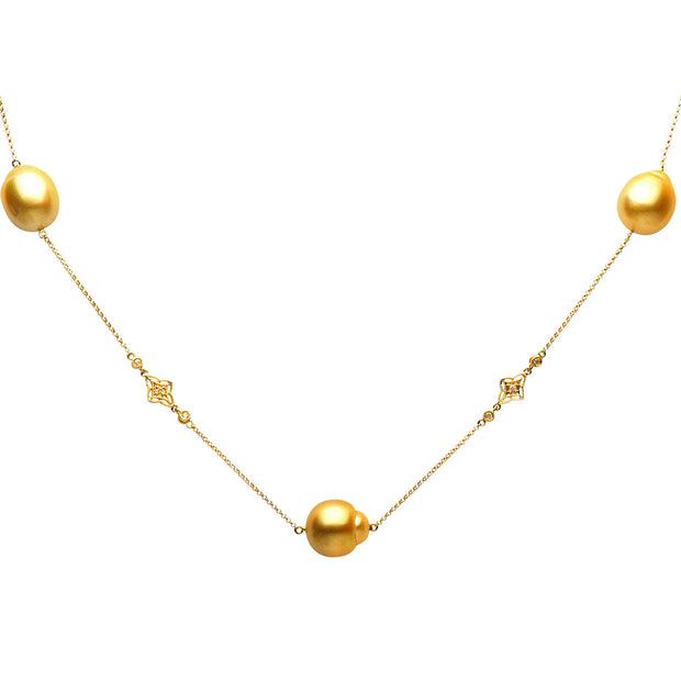 DSL Golden South Sea Pearl & Diamond Necklace