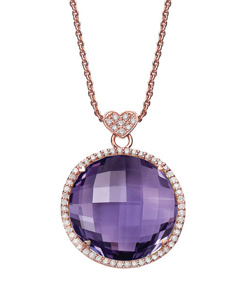 18K ROSE GOLD NECKLACE WITH 20MM ROUND AMETHYST AND .47 CTS DIAMONDS