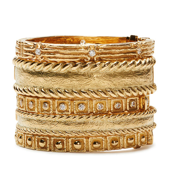 Coskey's Column Bangle With Diamonds