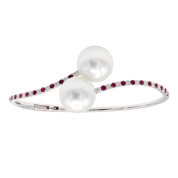 DSL South Sea Pearl Bangle with Diamonds & Rubies
