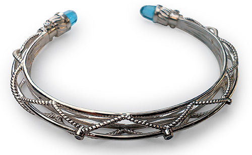 Blue Topaz Diamond Sterling Silver Bangle Bracelet