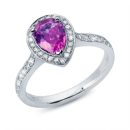 Tear-Drop Pink Sapphire Ring with Diamonds