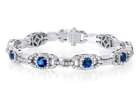 Blue Sapphire Bracelet with Diamonds