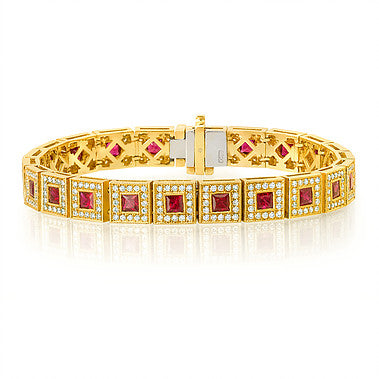 Princess Cut Rubies Bracelet