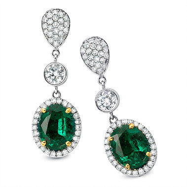 Oval Emerald Drop Earrings