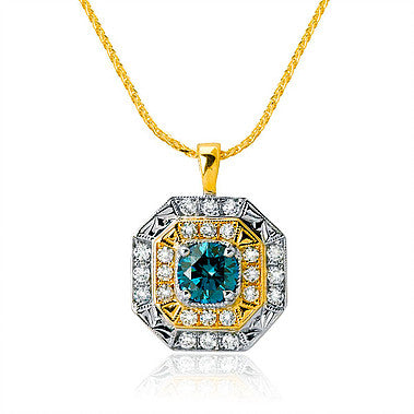 Blue Diamond Pendant in White and Yellow Gold