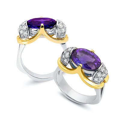 Amethyst Ring with Two-Tone Gold