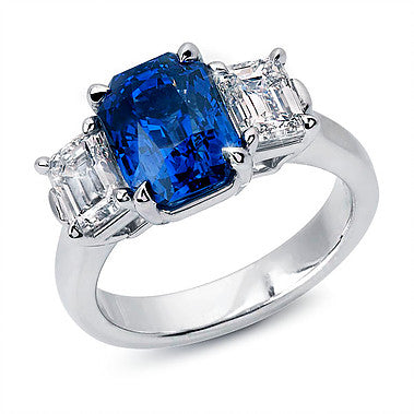 Emerald Cut Sapphire and Diamonds 3-Stone Ring